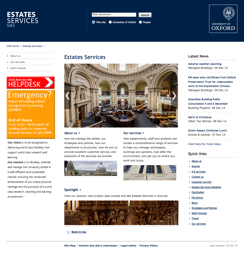 Oxford University - custom site manager templates